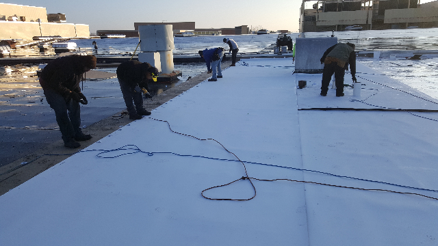 Tri-Star Roofing Team setting rolls